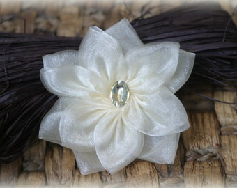 Tresors   Rhinestone Centered Ivory Organza Bridal Crafting Fabric Flower Approx. 3.5 inches across FL-037