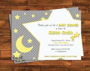 Baby Shower Invitations - 5x7 or 4x6 - Stars and moons, polka dots, grey, yellow - Customized