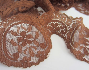 Elaborate Brown Flower Detail Lace - 60mm wide - Cut to Length - YARDS
