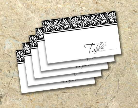 diy elegant damask wedding place cards