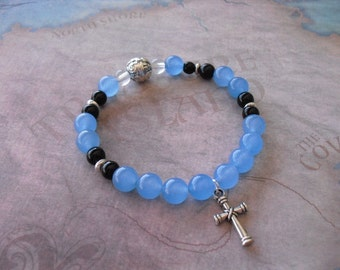 Brazilian aquamarine & onyx bracelet