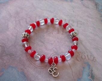 Beautiful red ruby & quartz bracelet