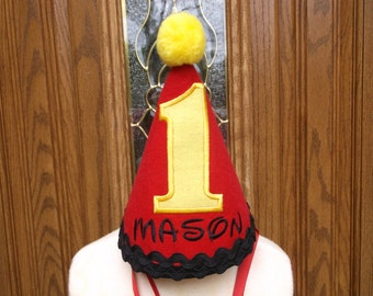 Boys First Birthday Party Hat - Red With Yellow Accents -  Free Personalization -  FAST SHIPPNG