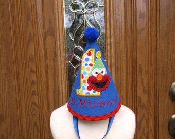 Boys First Birthday Hat - ElmoTheme Birthday Party Hat  - Free Personalization
