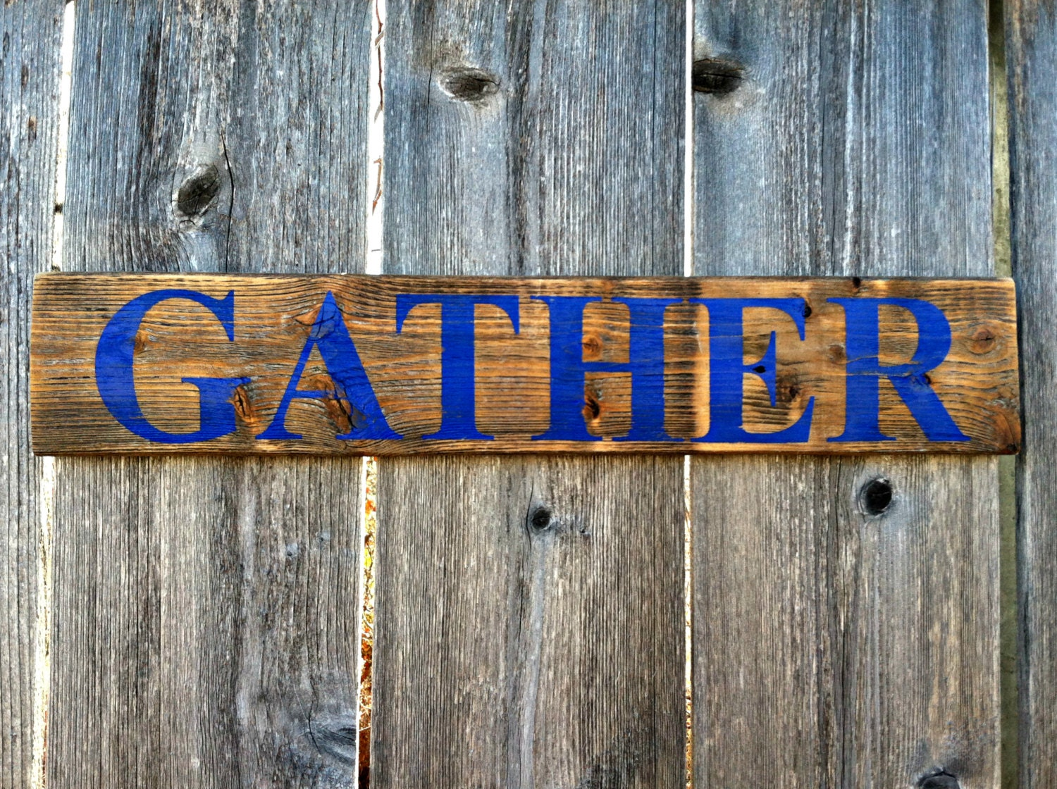 Wall Decor Gather : Rustic handmade wall decor gather wooden sign by