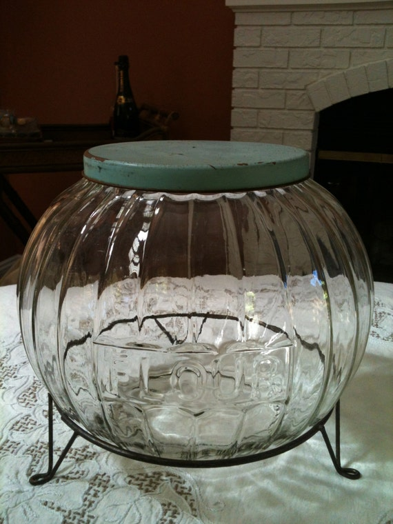 Hoosier Glass Flour Bin With Vintage Green Tin Lid & Wire