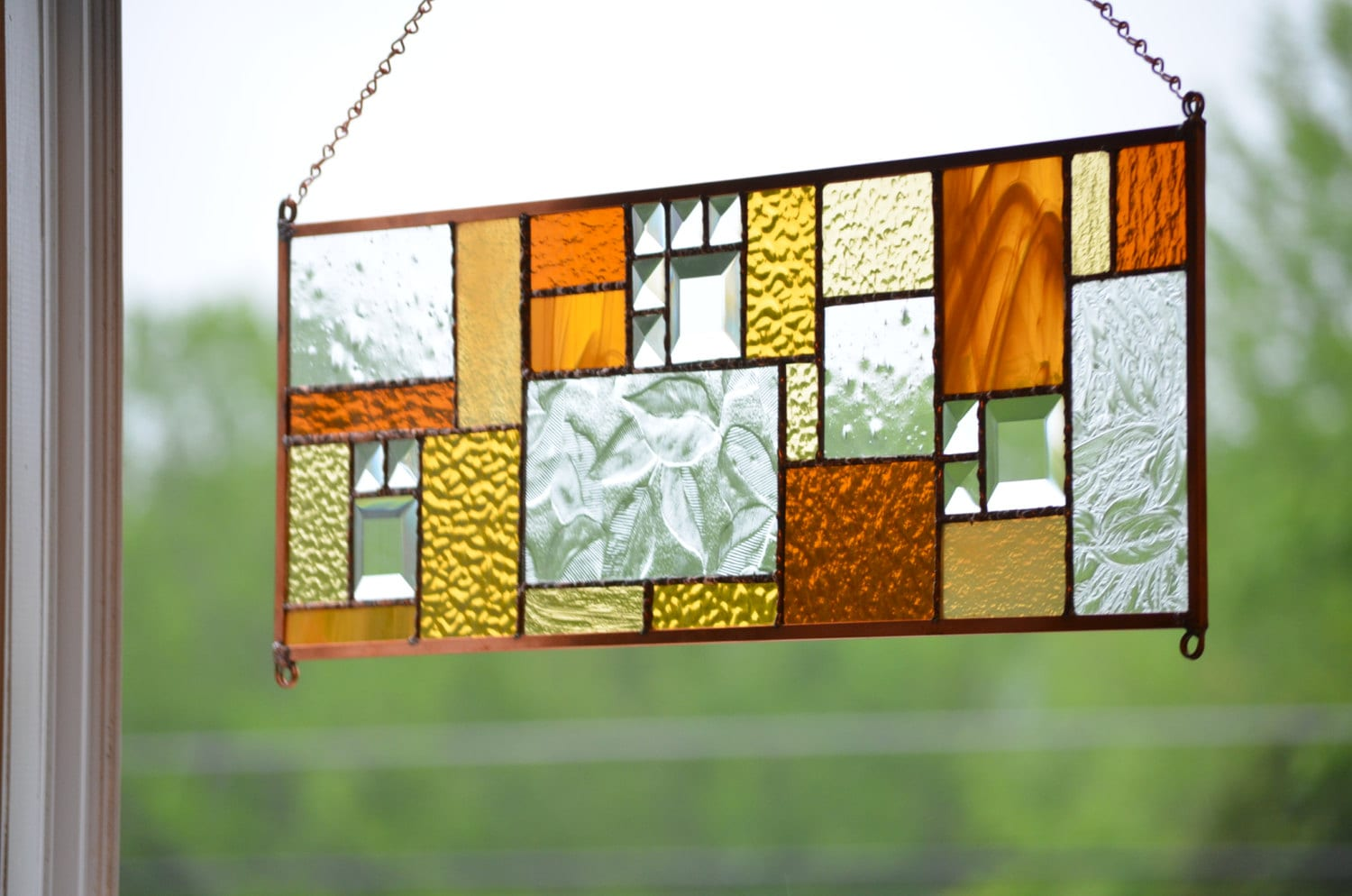 stained glass window panel hanging glass by windsongglassstudio