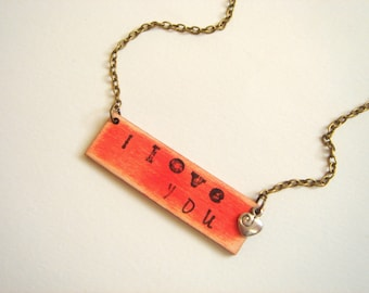 Valentine's Love  Necklace,Personalized  Red Valentine Necklace,Love  Necklace