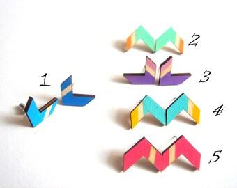 Chevron Earrings , Wood Chevron Earrings,Geometric Jewelry