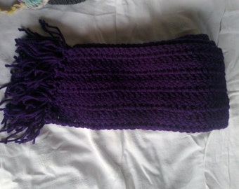 Adult purple crochet scarf