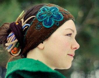 Merino wool felted Hair band with indigo flower, woolen headband