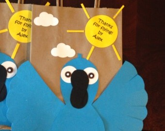 Boy and Girl treat bags for a RIO, bird, blu, blue macaw, Hawaiian inspired party with label