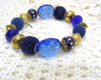 Goldtone And Navy Blue Chunky Elastic Or Stretch Bracelet Elegant Bracelet,Goldtone Bracelet,Dark Blue And Gold Beads,Crystal/Acrylic Beads