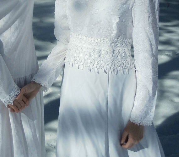White Boho Dress, Long Sleeve - vintage by California Dynasty - wedding, bridal, special event - size S