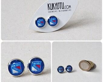 New York Rangers Stud Earrings NY Rangers jewelry Silver plated stud Hockey NHL Team Sport Custom earrings Choose Your favorite team