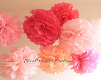Set of 9 (4L/5M) High Quality Tissue Paper Pom Poms - Baby shower decorations - Family Photoshoot - Kids Party - Theme Party - Outside Party