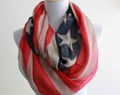Kahki American Flag Infinity Scarf Cute star bangled banner loop scarf Red and Blue star infinity Scarf Star Eternity Scarf