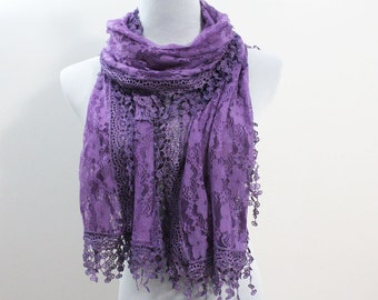 Puple Wedding Lace Scarf with Trim Fringe - Scarf with Crochet Lace Edge