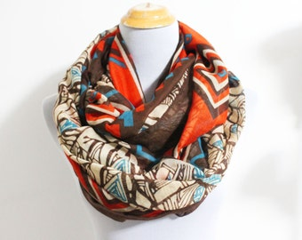 Brown Taupe Aztec Infinity Scarf Chunky Aztec Pattern Scarf Infinity Scarf Loop Scarf