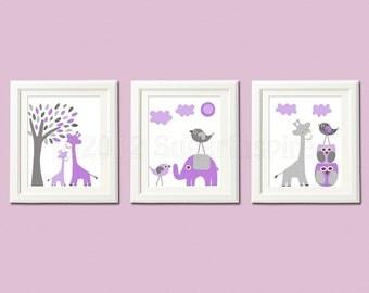 Purple and grey Nursery Art Print Set, 8x10, Kids room Decor,- lilac, lavender, purple and grey, elephant, giraffe, love birds,tree