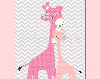 Pink and grey nursery art Print, 8x10, Kids Room Decor- Giraffe nursery, baby giraffe, chevron