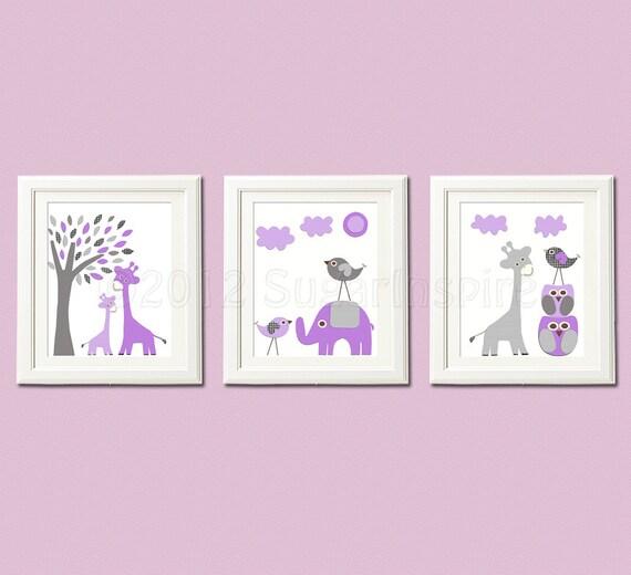 purple and grey nursery art print set 8x10 kids room decor. Black Bedroom Furniture Sets. Home Design Ideas