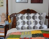 Glow In The Dark Constellation Moon Phases Screen Printed Pillowcase Gray/Yellow
