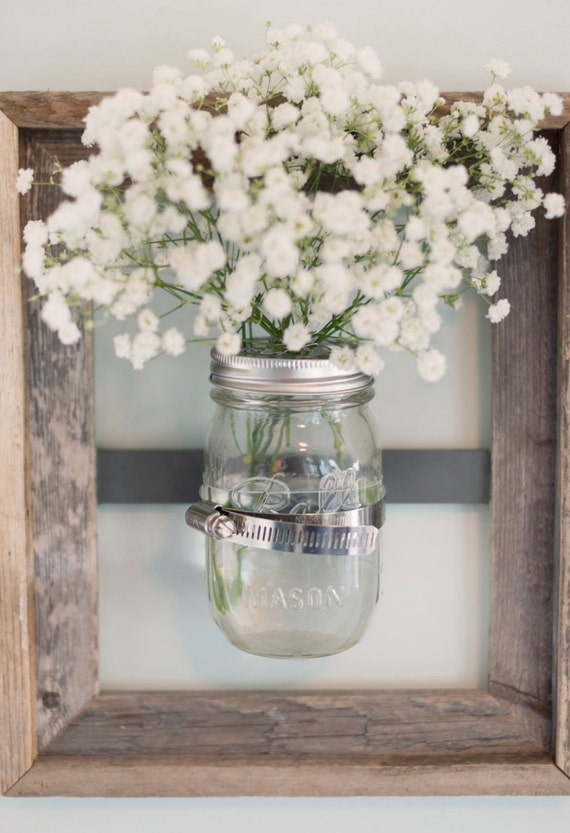 Mason Jar Wall Vase With Rustic Frame By Designsbymjl On Etsy