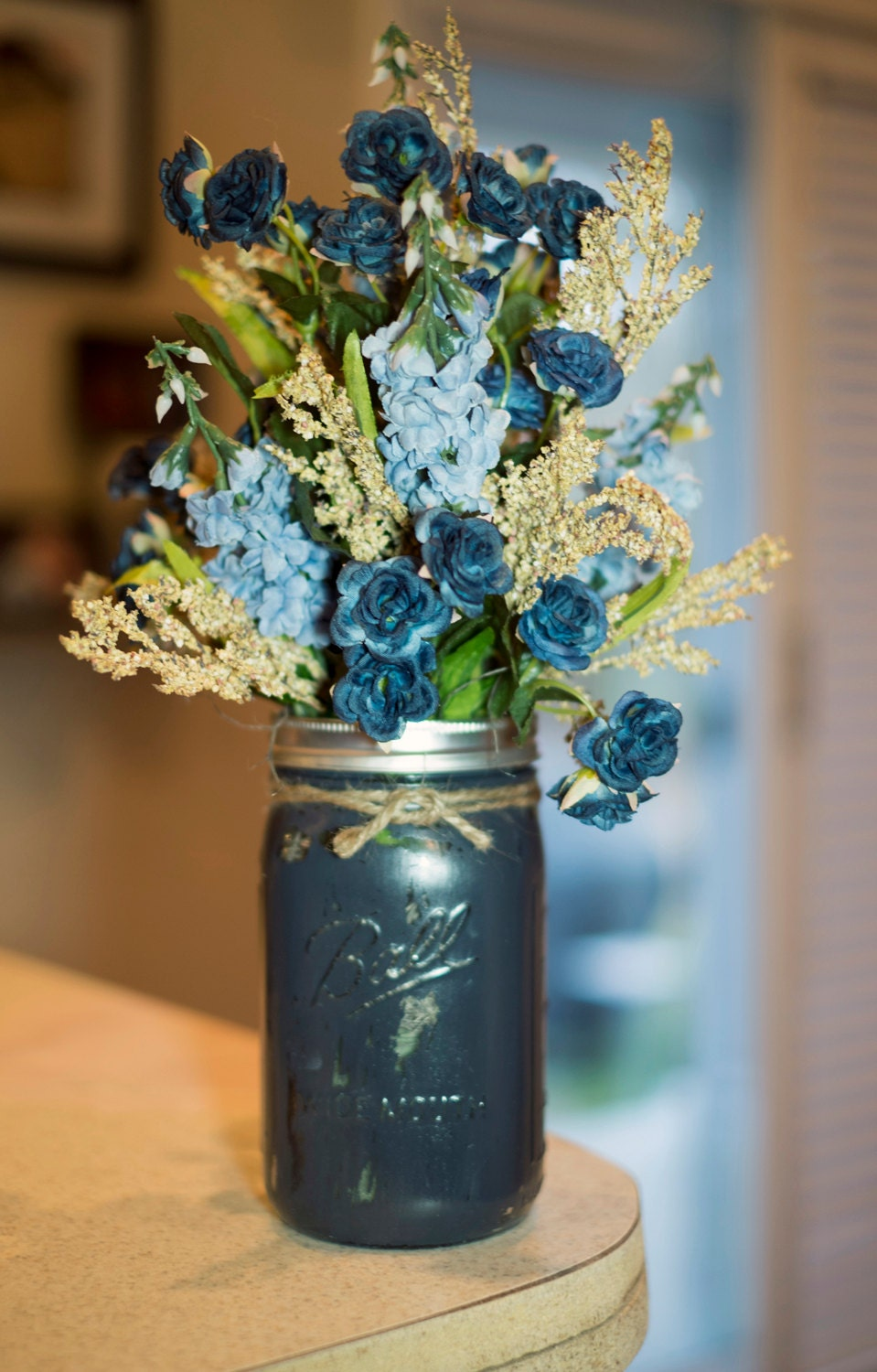 Mason Jar Painted Vase With Light Blue And Navy Silk Flowers