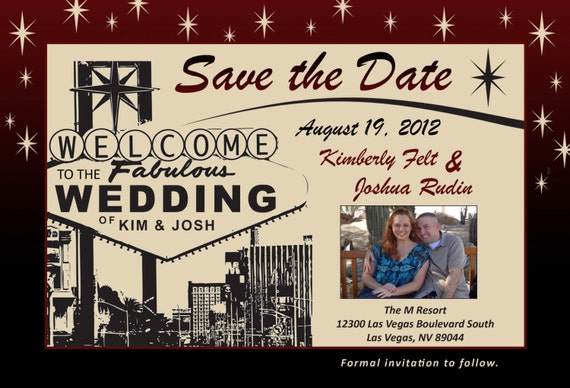 Las Vegas Themed Wedding Invitations: Las Vegas Themed Wedding Save The Date With By