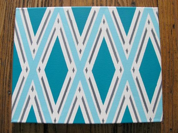 Azul, gris y blanca pintura geométrica