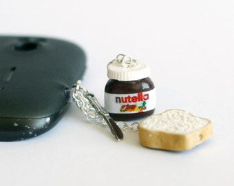 Nutella  polymer clay Anti dust plug for phone with tiny knife and bread miniature food jewelry