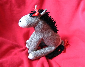 Sock Monkey Donkey Daisy - Stuffed Animal Toy Plush Doll Rockford Red Heel Socks