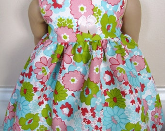Free Shipping on all US orders! American girl doll dress, fits 18 inch dolls, pretty floral print dress