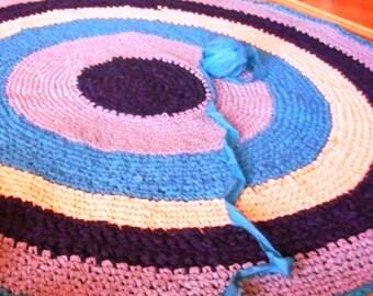 Custom colors Crochet Rag Rug, 6 ft Large Round Rug , Area rug,