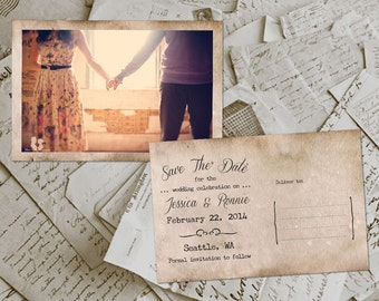 "Wedding Save The Date Cards - ArmsHouse Vintage Photo Personalized 4""x6"""