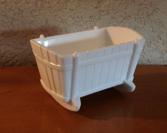 Vintage Milk Glass Cradle. Sweet Nursery Decor.