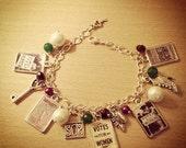 Vintage Votes For Women/ Suffragette Charm Bracelet. Handmade, Unique