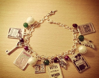 Vintage Votes For Women/ Suffragette Charm Bracelet. Handmade, Unique