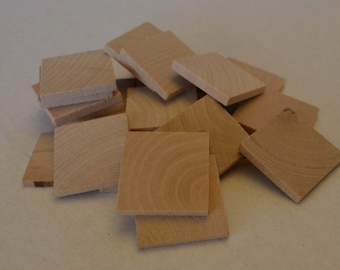 """1"""" Wood Squares - Set of 25 - Wood Tiles - Unfinished Wood Square - 1/8"""" Thick"""