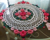 GARDEN of ROSES Crocheted Large DOILY 27 inches 100% Cotton Knit Cro Sheen White, Candy Pink, Mid Rose, Orchid Pink, Forest Green Beautiful