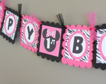 Minnie Mouse Hot Pink Black Zebra Inspired Happy Birthday Banner - Party Pack Specials Available