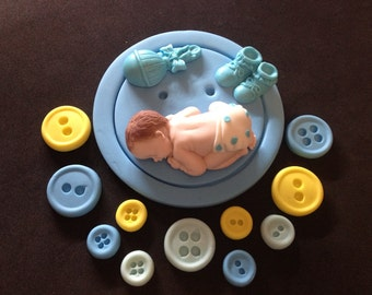 Fondant baby boy buttons cake topper Baby Shower, Birthday