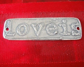 "925 sterling silver ""love is divine"" connector,charm,  Large silver connector,Love connector,"
