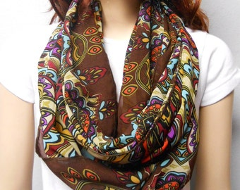 Bohemian Brown & Colorful --sheer  Infinity Scarf--Light n  Breezy