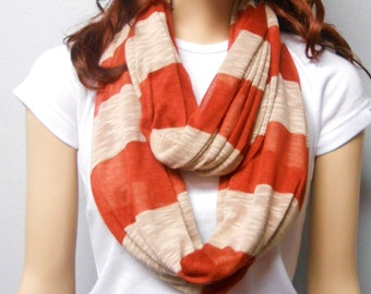 Rusty & Tan Stripes  Infinity Scarf Super Soft Swearter  Knit gift ideas