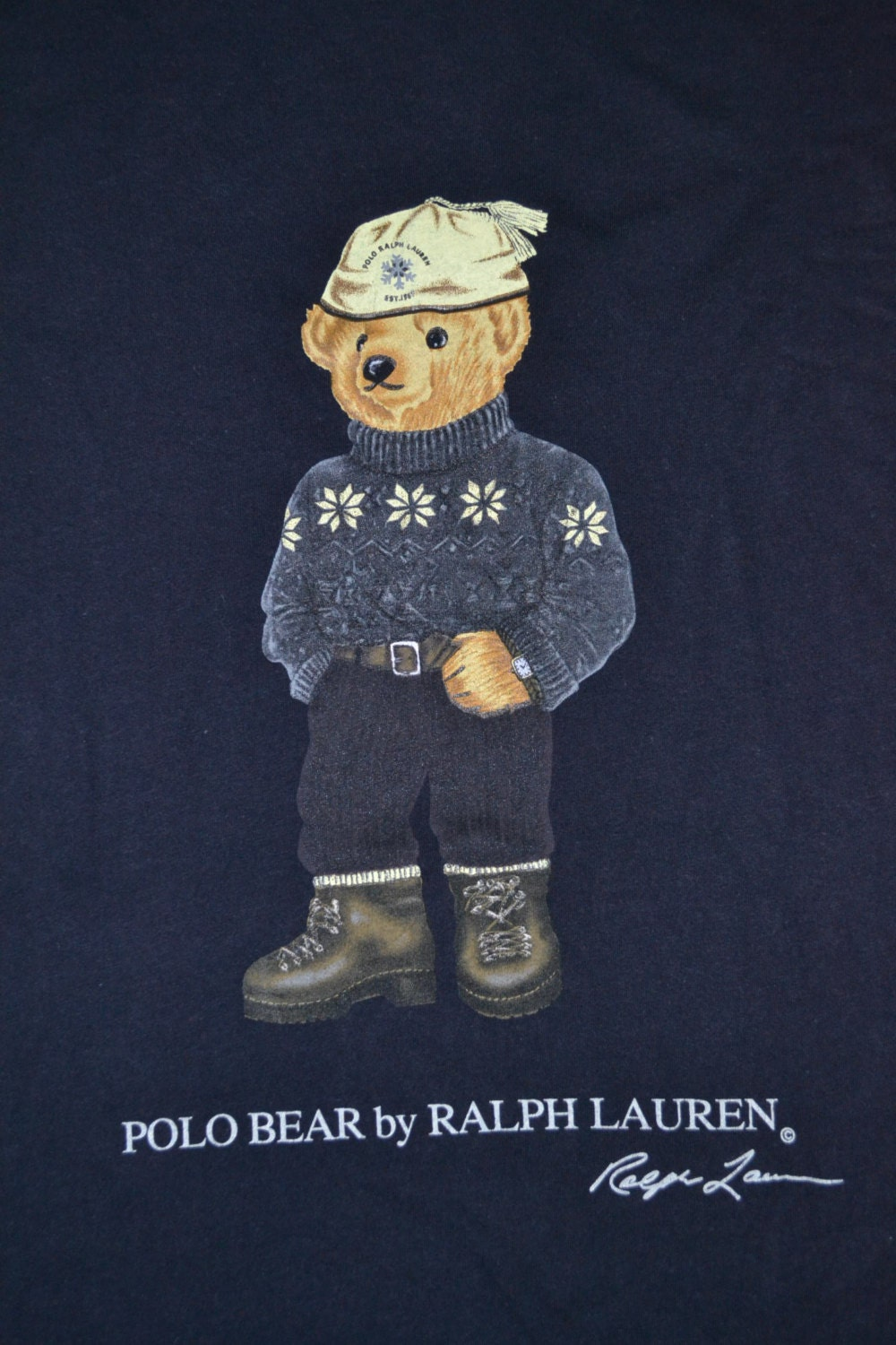 vintage 90s polo bear by ralph lauren stadium p wing ls sport