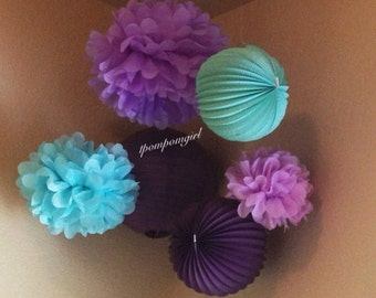 TISSUE POMS & LANTERNS / 3 Tissue Paper Pom Poms/3 Paper Lanterns / Baby Shower, Nursery Decor, Birthday, Wedding, Bridal Shower