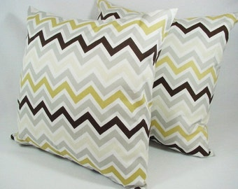 2 Chevron Decorative Pillow Covers in Brown and Grey - 12x16 12x18 14x14 16x16 18x18 20x20 22x22 24x24 26x26 Pillow Sham - Brown Pillows