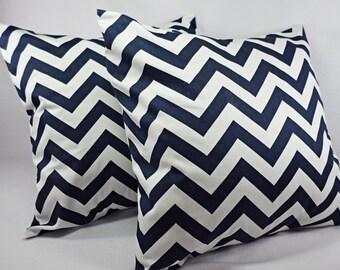2 Chevron Pillow Covers Blue and White - Throw Pillow Cushion Cover Decorative Pillow Cover 12x16 12x18 14x14 16x16 18x18 20x20 22x22 24x24